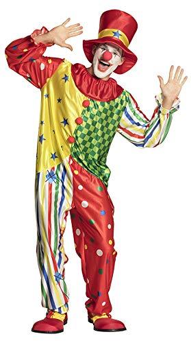 Halloweenia - Herren Männer Kostüm Hochwertiger bunter Clown Overall Jumpsuit Einteiler mit Hut, Clown Costume with Hat, perfekt für Karneval, Fasching und Fastnacht, M/L, Mehrfarbig (Clown Overall Kostüm)