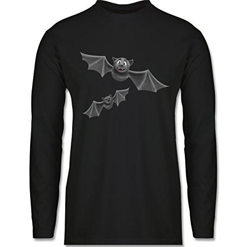 Shirtracer Halloween - süße Fledermäuse - S - Schwarz - BCTU005 - Herren Langarmshirt