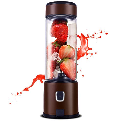 TTLIFE Batidora de vaso Licuadora portátil USB recargable 450ml Licuadora personal Copa de Jucier de acero inoxidable, para frutas, batidos de leche y alimentos para bebés, Certificado FDA/BPA, Marrón