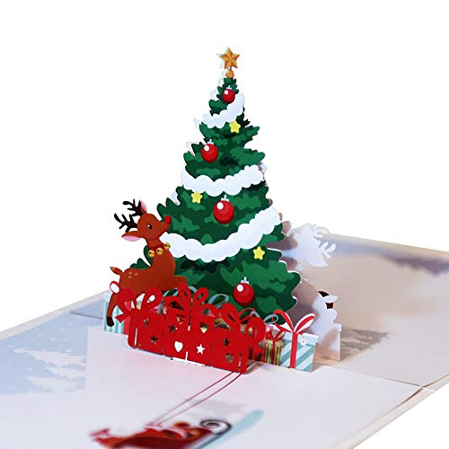 Momangel Handmade 3D Pop Up Christmas Tree Deer Design Greeting Card Holiday Xmas Happy New Year Best Wishes Gift