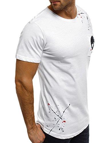OZONEE Herren T-Shirt mit Motiv Kurzarm Rundhals Figurbetont BREEZY 264 Weiß