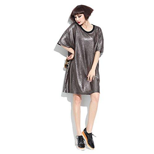 Dreamworldeu - Robe - Relaxed - Uni - Manches Courtes - Femme Café