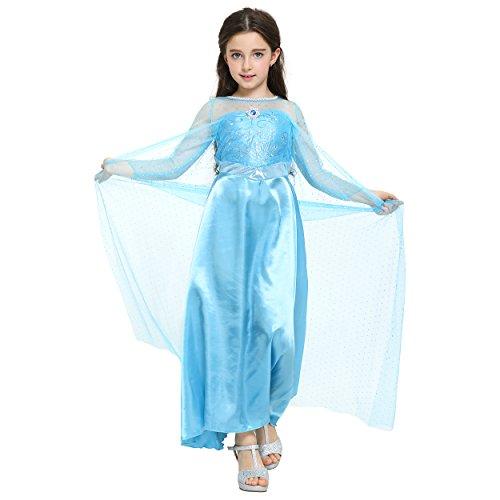 Katara 110/116 Blaues Elsa Eiskönigin Langarm-Kostüm-Kleid, bodenlang mit Schleppe, für 4-5 Jahre