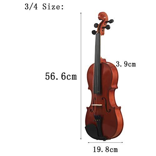 NUYI Tutto Il Violino in Legno 4/4 3/4 1/2 1/4 1/8 in Legno Massiccio Popolare Violino Principiante Pratica Violino per Inviare Custodia per Pianoforte A Coda,3/4