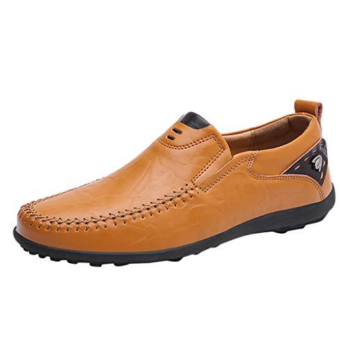 al Business Schuhe einfarbig rund flach mit flachem Mund Round Toe Nähen Flache Ferse Lederschuhe Casual Slip On rutschfeste Walking Sneaker Loafer Boat ()