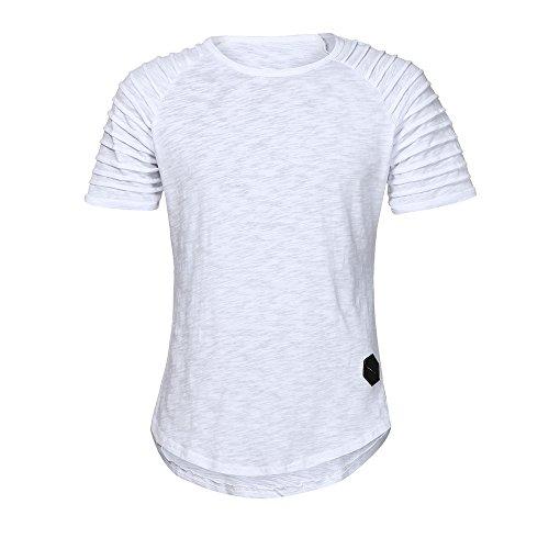 Männer Sport T-Shirt Slim Fit O-Ausschnitt Kurzarm Muscle Cotton Casual Täglichen Training Tops Bluse Shirts(Weiß, EU-52/CN-XXL) ()