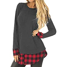 Auifor Tops para Mujer Sudadera Casual de Manga Larga Suelta a Cuadros Patchwork Pullover