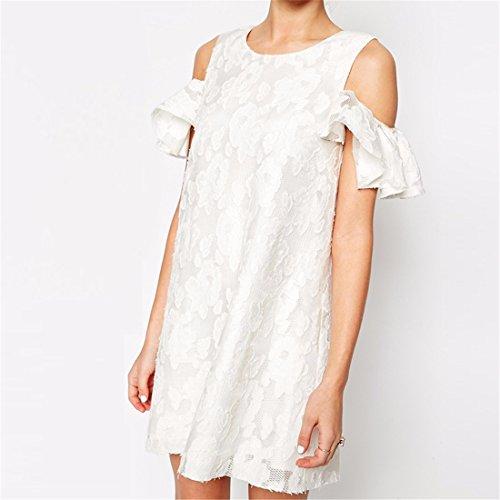 suesse Frauen weisser Spitze weg von der Schulter Lotusblatt aermel eine Online Cocktail Kleid White