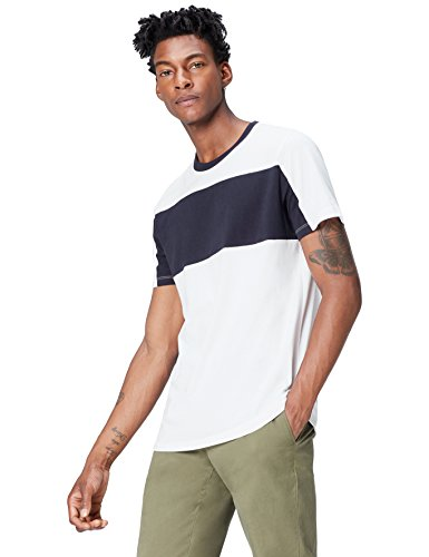 FIND Herren T-Shirt mit Colour-Blocking Weiß (White)