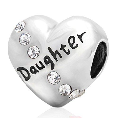 Heart daughter ciondoli in argento 925sintetico apirl pietra trasparente zirconia cubica per braccialetti charm per mamma, papà little girl by sandcastle fascino