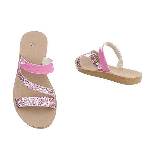 Ital-Design Pantoletten Damenschuhe Pantoletten Pantoletten Sandalen & Sandaletten Pink