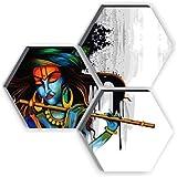 SAF Set of 3 Hexagon Krishna 6MM MDF UV Textured Home Decorative Gift Item 21 inch x 21 inch Painting