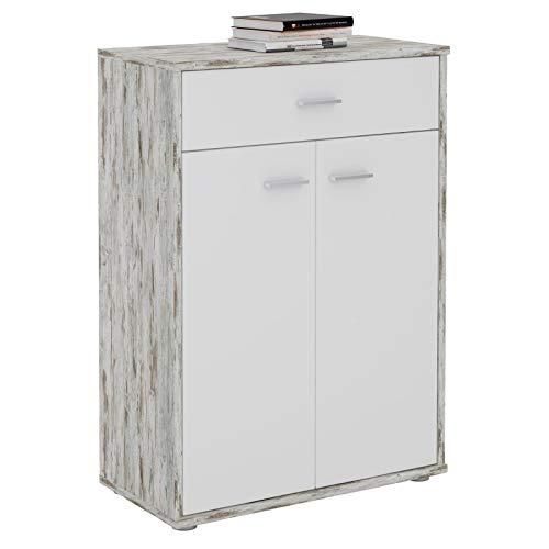 CARO-Möbel Kommode Sideboard Schrank Tommy in Shabby Chic/weiß, Anrichte Highboard mit Schublade und 2 Türen