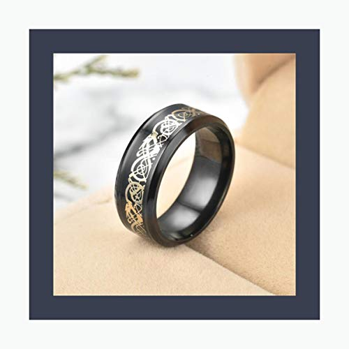 AXstore Schmuck Ring 11 Colors Blue Black Silvering Irish Dragon Titanium Carbide Ring 8Mm Wedding Bands Couple Anniversary Jewelry G0170 Gold Balck 13