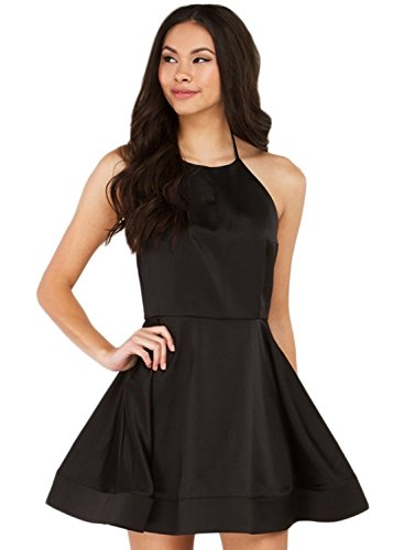 Azbro Women's Halter Backless A-line Party Dress Black