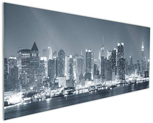 Wallario Küchenrückwand aus Glas, in Premium Qualität, Motiv: New York Skyline - Schwarz Weiß Blau | Spritzschutz | abwischbar | pflegeleicht