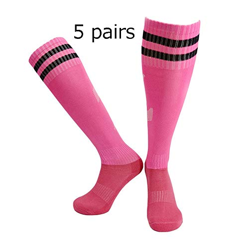 YAOSHIBIAN-Socks Kniehohe Erwachsene Socken über Wadensocken für Baseball Basketball Fußball Fußball 5 Paar Jungen Mädchen Sport Lange Kompressionssocken Lässig Bequem (Farbe : C6, Größe : Adult) -