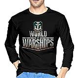 Zangcang Herren T-Shirts Bedruckt World of Warships Fans Logo Rundhals Langarm T-Shirt für Männer XL