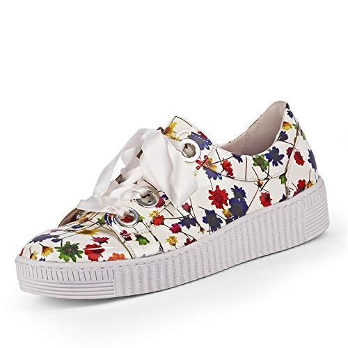 Gabor Damen Low-Top Sneaker 23.330.90, Frauen Halbschuh,Schnürschuh,Strassenschuh,Business,Freizeit,Weiss/Multicolor,41 EU / 7.5 UK -