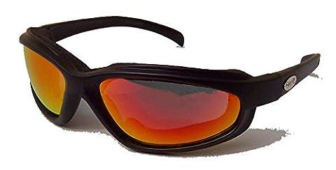 Curv Z rembourré pour moto/motard compatible avec verres rouge avec verre miroir et étui de rangement