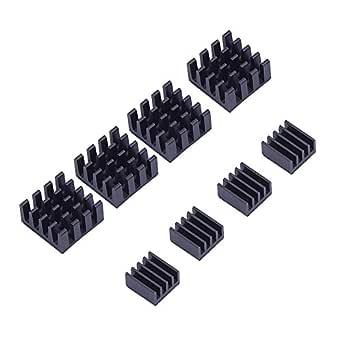 Electrobot EB-HEATSINK-8 Aluminum Heatsink Cooler Cooling Kit, Black (8 Pieces)