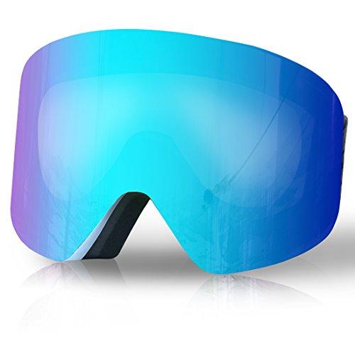 TUONROAD Skibrille, Snowboardbrille, Wintersport Brille mit Tauschbarem Glas Magnet-Wechselsystem, Verspiegelt, Rahmenlos,OTG-Schutz, 100% UV-Schutz für Damen und Herren