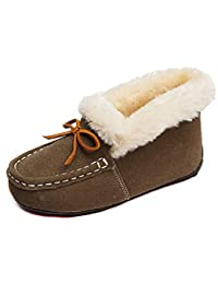 89986a06a lovejin Niño Niña Mocasines Invierno Caliente Forro de Felpa Gamuza  Zapatillas Exterior Impermeables Antideslizantes Zapatos