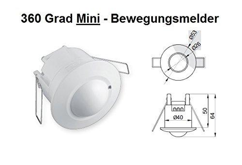 Mini Bewegungsmelder Einbau 360 Grad Decke 10 - 800 Watt Unterputz 8m