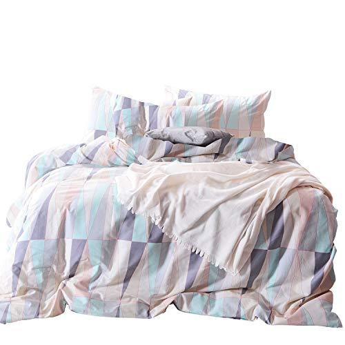 Wake In Cloud Gestreifte Bettbezug-Set, 100% weiche Baumwolle Bettwäsche, Zitrone Muster Mit Streifendesign Queen (bettbezug 90