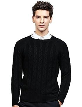Jitong Uomo Maglione a Girocollo Pullover a Maniche Lunghe Slim Fit Sweater Morbido Maglia a Cavo