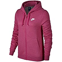 Nike 853930–635–Sudadera con capucha para mujer, Mujer, 853930-635, Lethal Pink/Heather/Lethal Pink/Blanc, XS