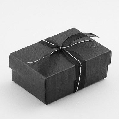 Rectangular Favour Boxes with Lid (medium) - Black Silk (Pk 10 flat packed, without decorations)