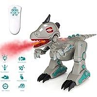 deAO RCID-G RC Robot de Dinosaurio Inteligente con Luces de Efecto Ahumado y Sonidos Infrarrojos Mando a Distancia electrónico T-Rex Juguete (Gris)