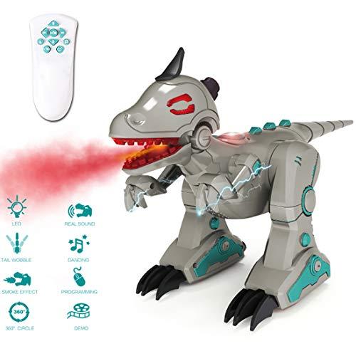 deAO RCID-G RC Intelligenter Dinosaurier-Roboter mit Raucheffekt Lichter und Geräuschen, Infrarot-Fernbedienung, elektronisches T-Rex Spielzeug (grau) - Roboter-t-rex