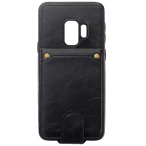 BisLinks®® Für Samsung Galaxy S9 Back Wallet Fall Cover Fitted PU Leder Classic Stil Magnetisch Flip Protection Shockproof - Black -