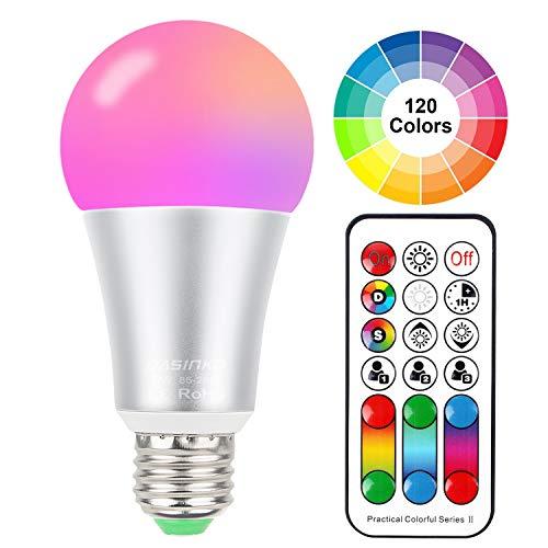 Farbwechsel Licht Leuchtmittel 10 W E27 Edison Schraube RGBW-Lichtern, 120 Farbe Entscheidungen, 4. Geneartion RGB + Warm Weiß Farbige, Dual Memory Fernbedienung für Home Party Dekoration (Remote Control Light Bulb Farben)