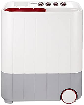 Samsung 6.5 kg Semi-Automatic Top Loading Washing Machine (WT657QPNDPGXTL, White and Maroon)