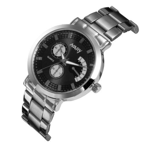 JewelryWe Edelstahl Band Quarz Armbanduhr Wasserdicht für Damen & Herren Farbe Schwarz Silber