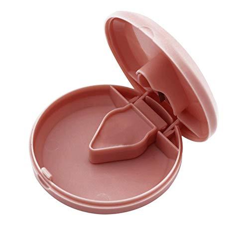 qiheiyipian Cortador Redondo Polvo triturador Tableta Medicina Tabletas Splitter Cortar (Rosa)