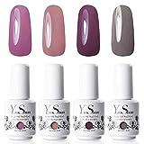 Y&S 8ml UV LED Gel Nail Polish Sets Longwear Soak Off Glitter Nail Gel Polish Kit Washable Manicure Varnish #003 (Pack of 4)