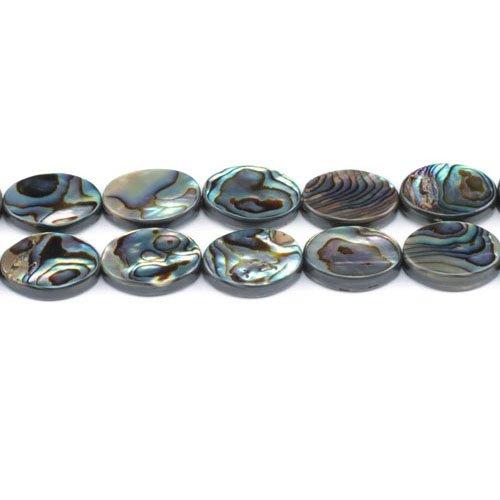 Charming Beads Paket 4 x Regenbogen Abalone Muschel 13 x 18mm Flach Oval Perlen GS1333-5