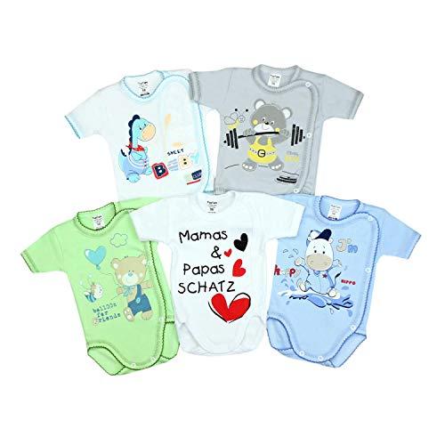 TupTam Unisex Baby Kurzarm Wickelbody mit Spruch 5er Pack, Farbe: Junge, Größe: 68