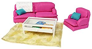 Lundby 1:18 Scale Dolls House Smaland Sitting Room Set (Pink)