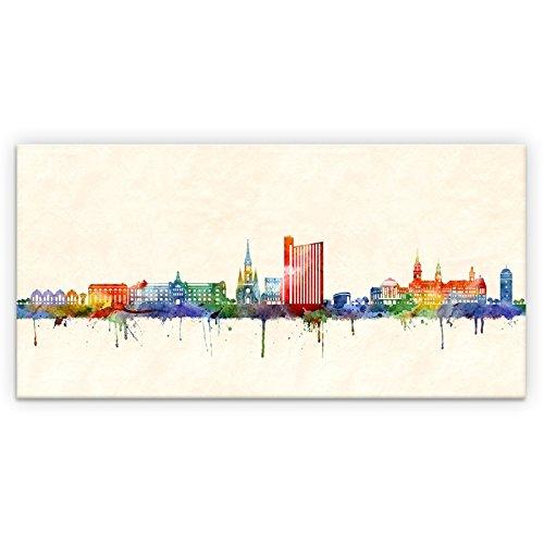 Kunstbruder Skyline Chemnitz Color (div. Größen) - Kunst Druck auf Leinwand 60x120cm -