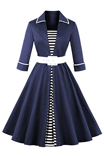 MisShow Damen Elegant 50er Jahre Vintage Kleid Rockabilly Abendkleid Cocktailkleid Pin Up Knielang S~4XL