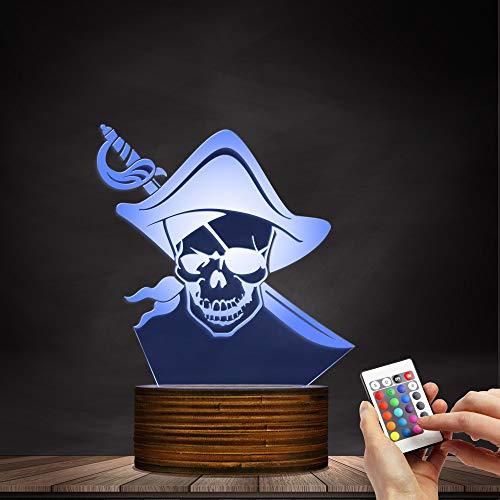 ZCLD Piraten-Schädel mit Schwert 3D-Lampe für optische Täuschung, 16 Farben ändern, USB-Aufladung, mit Acryl-Flach- und Holzsockel & USB-Kabel, Kinderfreunde Geburtstagsfeiertage