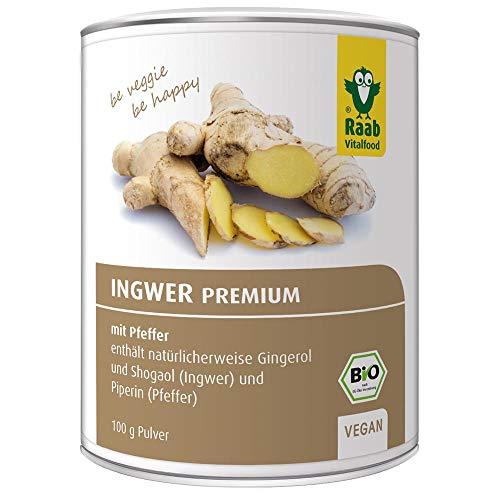 Raab Vitalfood Bio Ingwer-Pulver Premium mit Pfeffer, vegan, enthält natürlicherweise Gingerol, laborgeprüft in Deutschland, 100 g