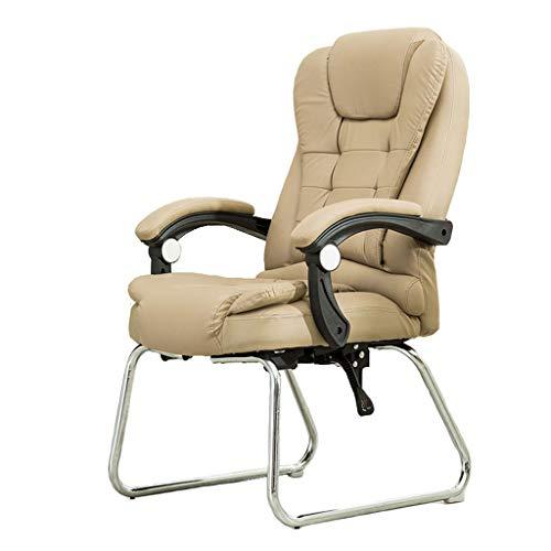 YWARX Hohe Rückenlehne Bürostuhl aus PU, Polsterung Chefsessel mit Massagefunktion und klappbaren Armlehnen-Fixier- und Wippfunktion,Khaki,WithRemote