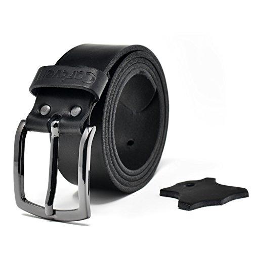 Cartvelli Premium Ledergürtel Herren - hochwertig MADE IN GERMANY - Breite 4cm - 100% Echtleder - Kaviar schwarz - edler Echt Leder Gürtel - Vollleder Jeansgürtel mit Geschenk Box - Bundweite 95cm