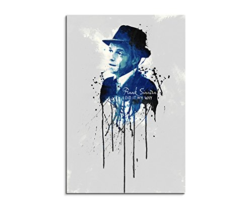 Frank Poster Sinatra (Frank Sinatra 90x 60cm Keilrahmenbild Kunstbild Aquarell Art Wandbild auf Leinwand fertig gerahmt Original Paul Sinus Art Unikat)